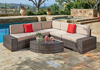 Suncrown Outdoor Furniture Sectional Sofa U0026amp; Wedge Table (6 Piece Set)  All