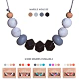 Baby Teething Necklace for Mom by Koala&Co. With BPA Free Silicone Chewbeads - Our Teether & Nursing Necklaces are the Perfect Baby Gift (Marble Mousse)