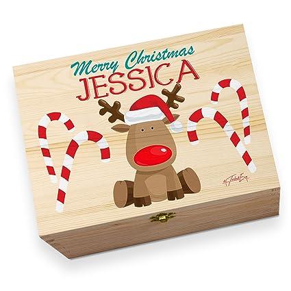 Caja navideña de Nochebuena personalizable, de madera, con dibujo de reno de