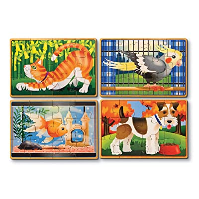 Melissa & Doug 13790 Pets 4-in-1 Wooden Jigsaw Puzzles in a Storage Box (48 pcs): Toys & Games