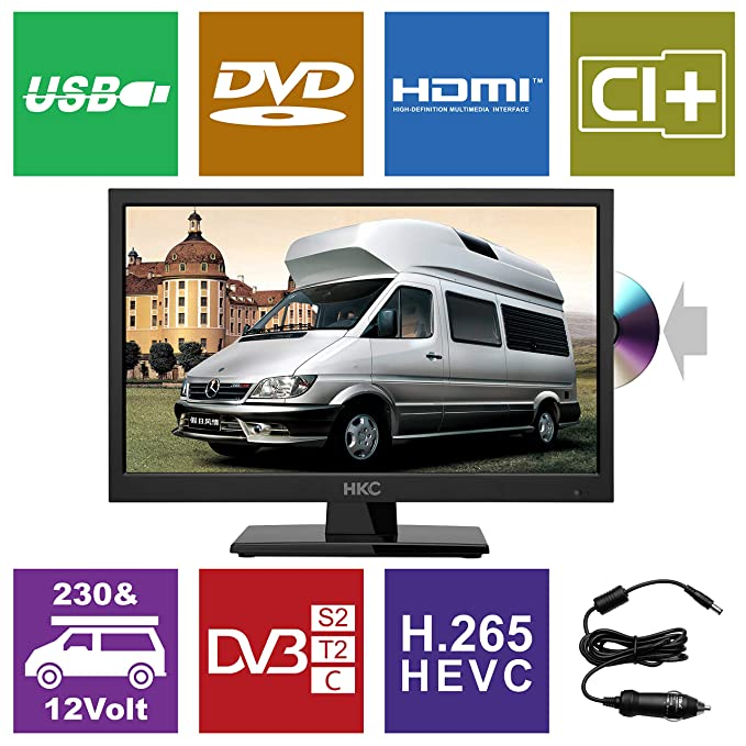 HKC 17H2C: 43,9 cm (17 Zoll) LED-Fernseher (HD-Ready, Triple Tuner, CI+, Mediaplayer USB 2.0, 12V Kfz-Ladegerät) [Energieklas