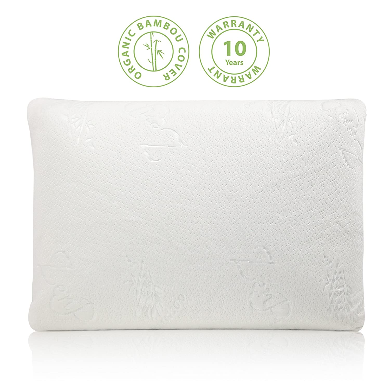 ZenPur® Premium Organic Bamboo Memory Foam Pillow — Contour Design Relieves Back and Neck Pain — Hypoallergenic Washable Cover — Ideal for Front, Back & Side Sleepers — Eco — 40x60cm DESIGNBYKDOCHIC