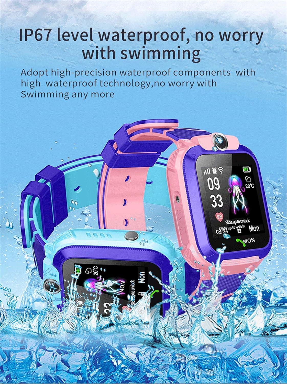 MontrGar/çon LBS Tracker Kids SOS T/él/éphone 3 /à 12 Ans Enfants Connect/ée Smartwatch /Étanche pour Fille Gar/çon linyingdian Kids Smartwatch /étanche LBS//GPS Tracker Rose