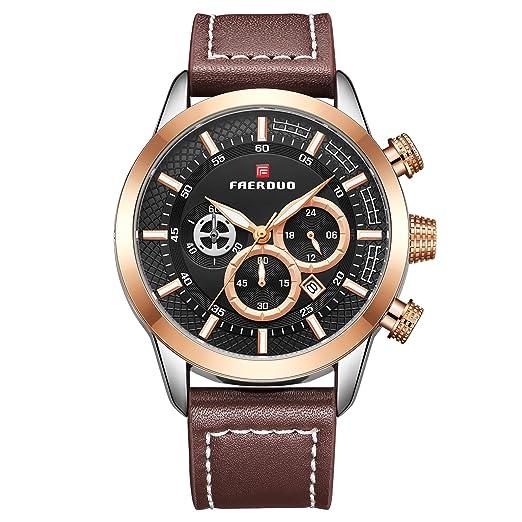 FAERDUO Reloj para Hombre Clásico Elegante Negocios Analógico Cuarzo Reloj Impermeable Cuero Fecha Relojes: Amazon.es: Relojes