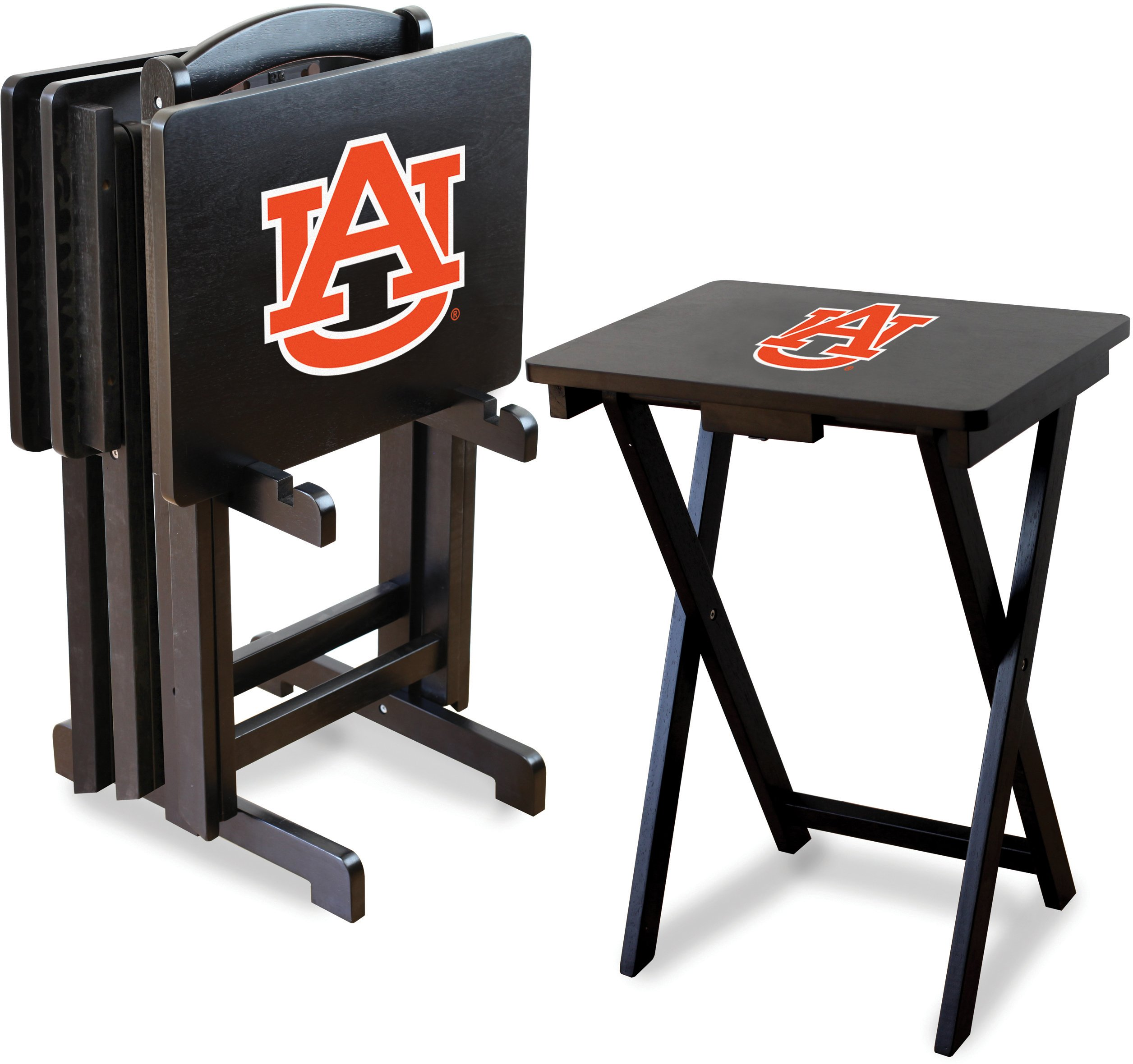 Imperial Officially Licensed NCAA Merchandise: Foldable Wood TV Tray Table Set with Stand, Auburn Tigers by Imperial