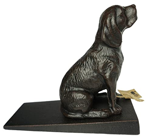 Lulu Decor Cast Iron Heavy Duty 6 lbs 9 oz Dog Door Stopper with Base, Measures 7 H, 3.5 W and 8.25 L, Cute, Good Looking Dog