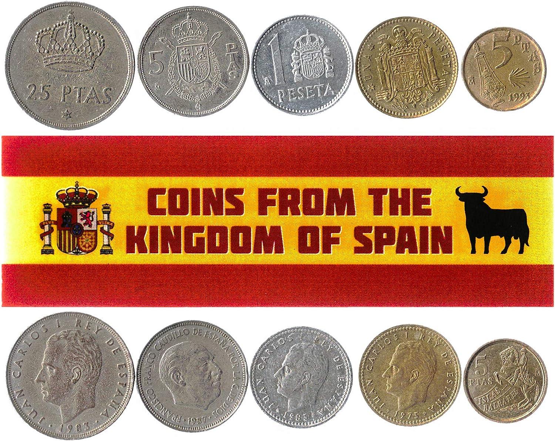 5 Monedas Diferentes - Moneda extranjera española Antigua y Coleccionable para coleccionar Libros - Conjuntos únicos de Dinero Mundial - Regalos para coleccionistas: Amazon.es: Juguetes y juegos