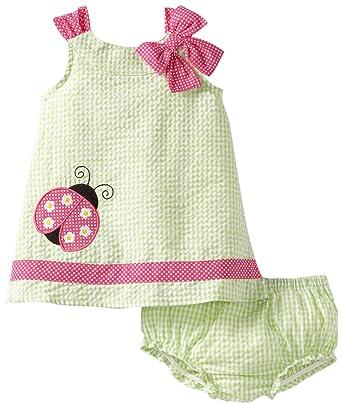 1c21f54d284 Amazon.com  Youngland Baby Girls  Gingham Checked Ladybug Dress ...