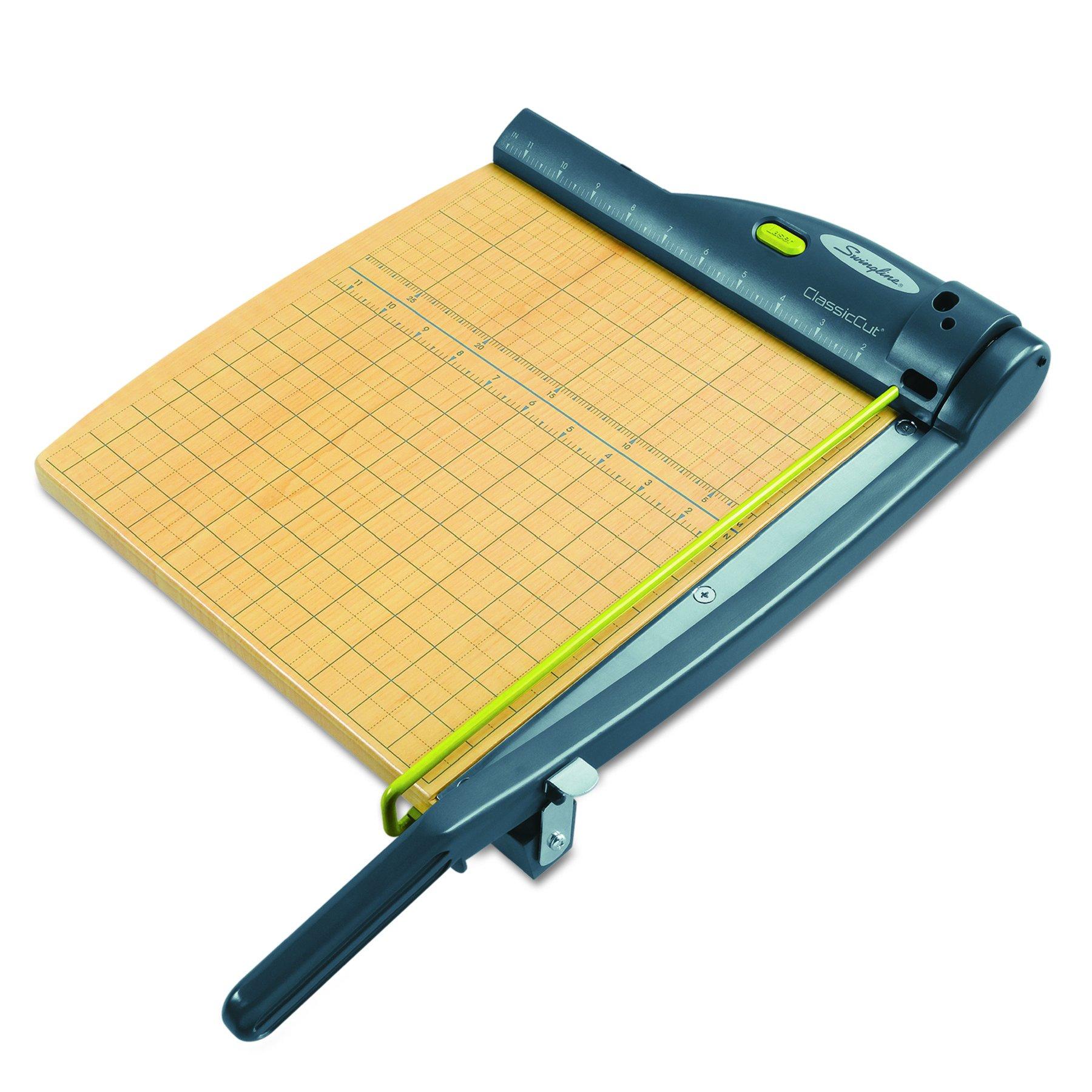 Swingline 9712 ClassicCut 15-Sheet Laser Trimmer, Metal/Wood Composite Base,12 x 12