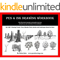 Pen and Ink Drawing Workbook vol 1-2: Learn to Draw Pen and Ink Landscapes (Pen and Ink Workbooks) (English Edition)