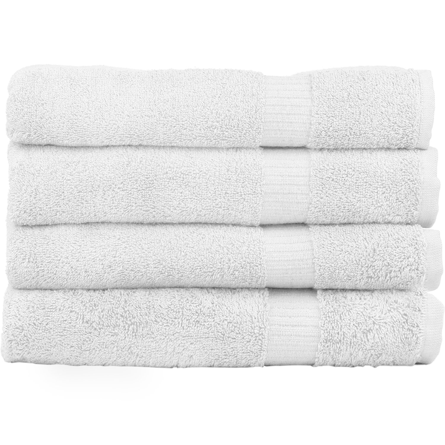 Zachary Collection Bath Towels [4 Pack] 100% Cotton, Elegant & Ultra Absorbent Set - White