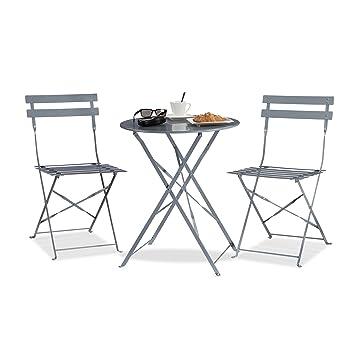 Perfekt Relaxdays Bistrotisch Mit 2 Stühlen, Klappbar, Rund 60x60 Cm, Metall,  Outdoor,