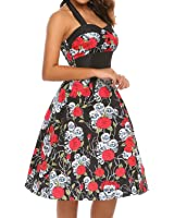 Zeagoo Women's Vintage Halter Floral 50's 60's Retro Rockabilly Sewing Cocktail Prom Dresses