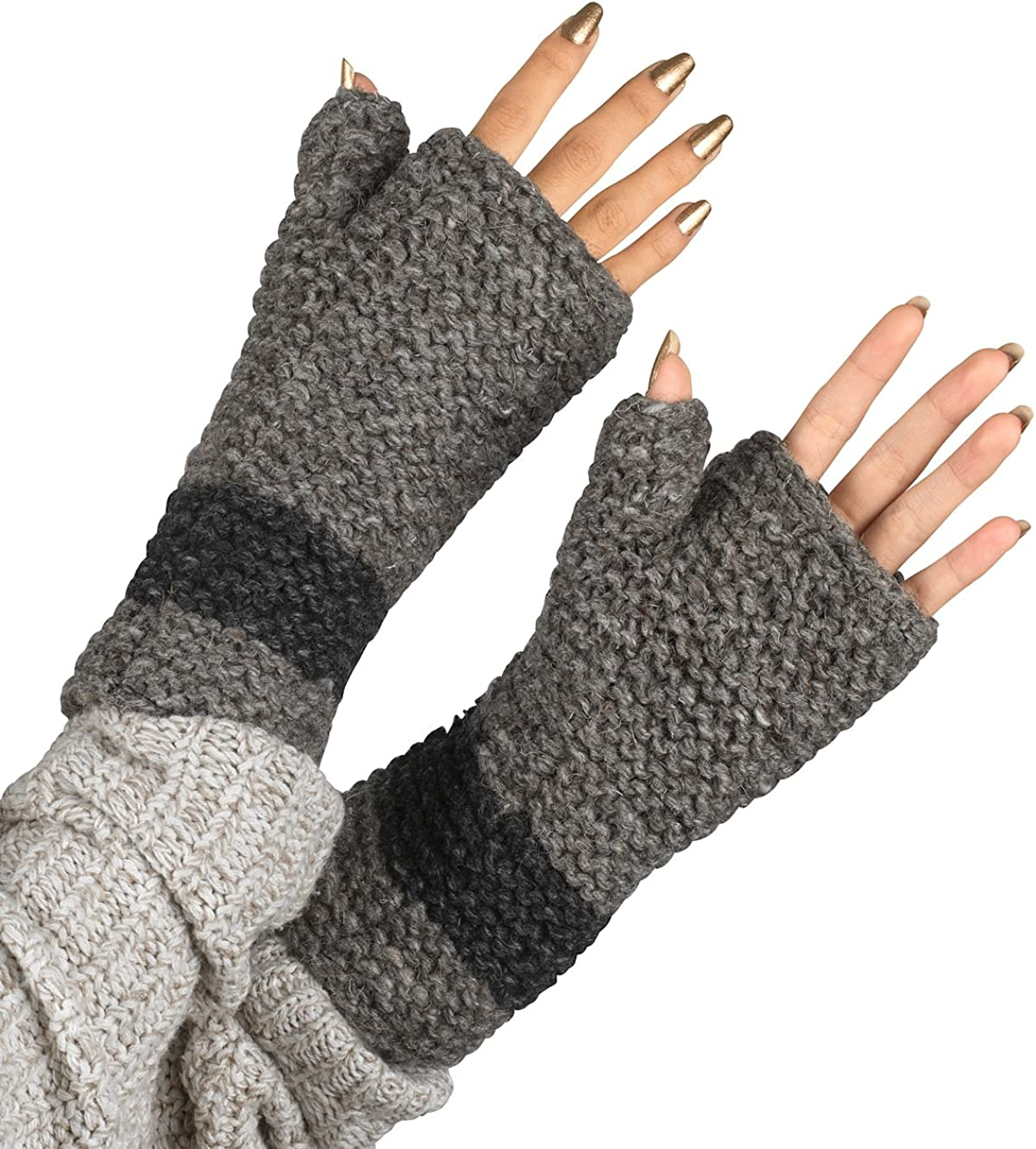 Wool Fingerless Gloves Arm...