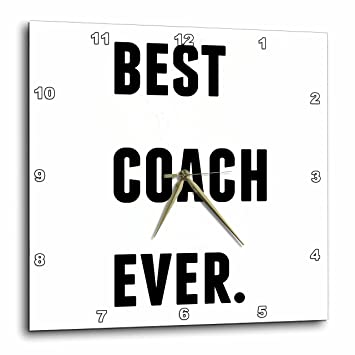 Wall Clock 10 by 10-Inch 3dRose Best Coach Ever Black Letters on A White Background DPP/_213366/_1