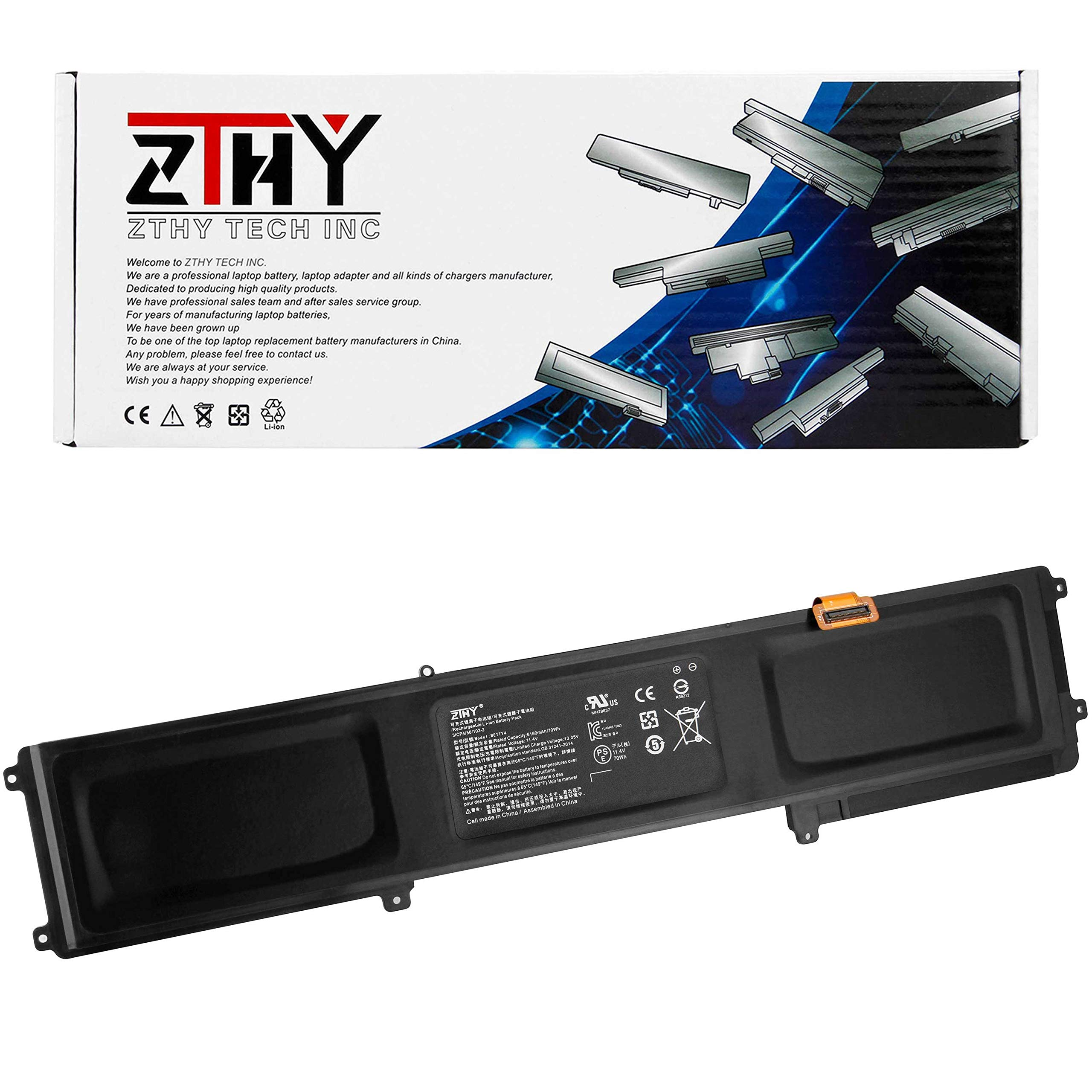 ZTHY BETTY4 Laptop Battery Replacement for Razer Blade 2016 14'' V2 Series 3ICP4/56/102-2 RZ09-0195 RZ09-0165 RZ09-01953E72 RZ09-01953E71 RZ09-01953W52 CN-B-1-BETTY4-73K-06472 70Wh 11.4V 6160mAh