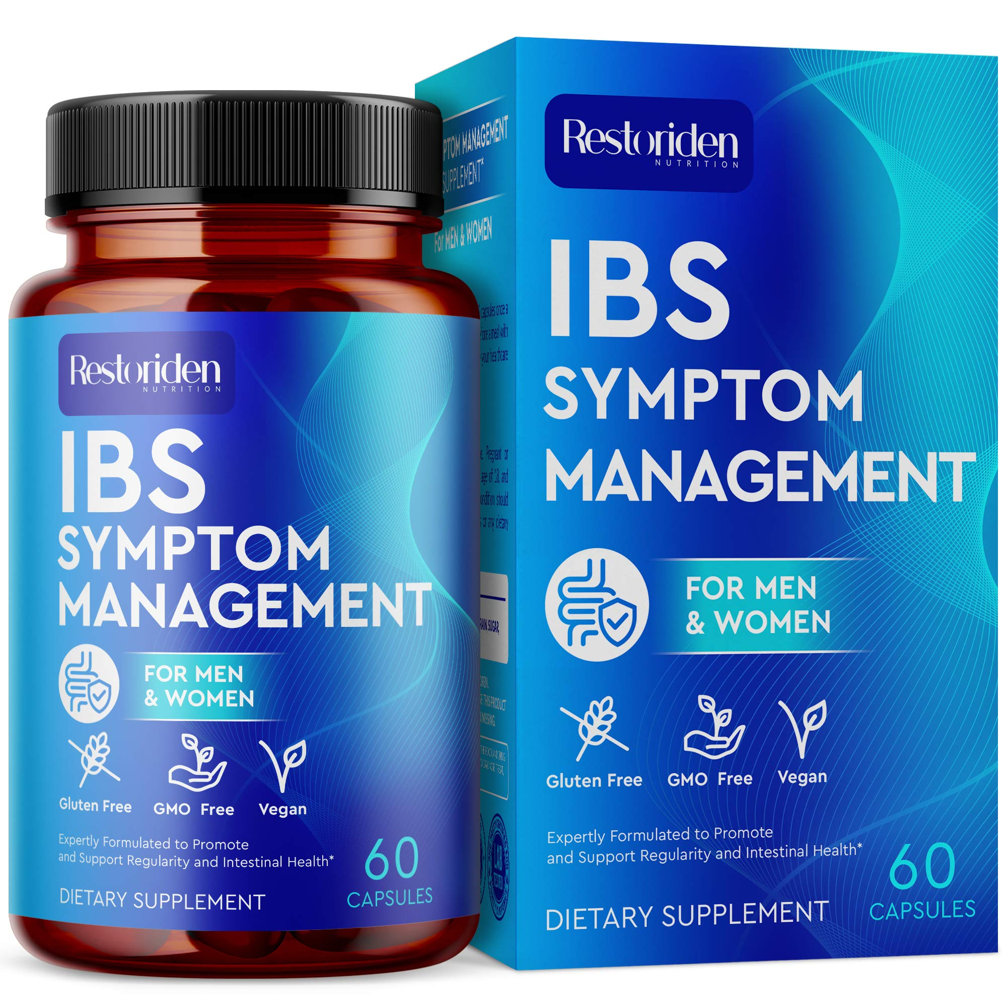Restoriden IBS Symptom Management Supplement - Stomach Cleansing Herbal Blend - Vitamins May Support with Cramps, Abdominal Pain, Bloating, Gas, Diarrhea, Constipation Relief - 60 Capsules