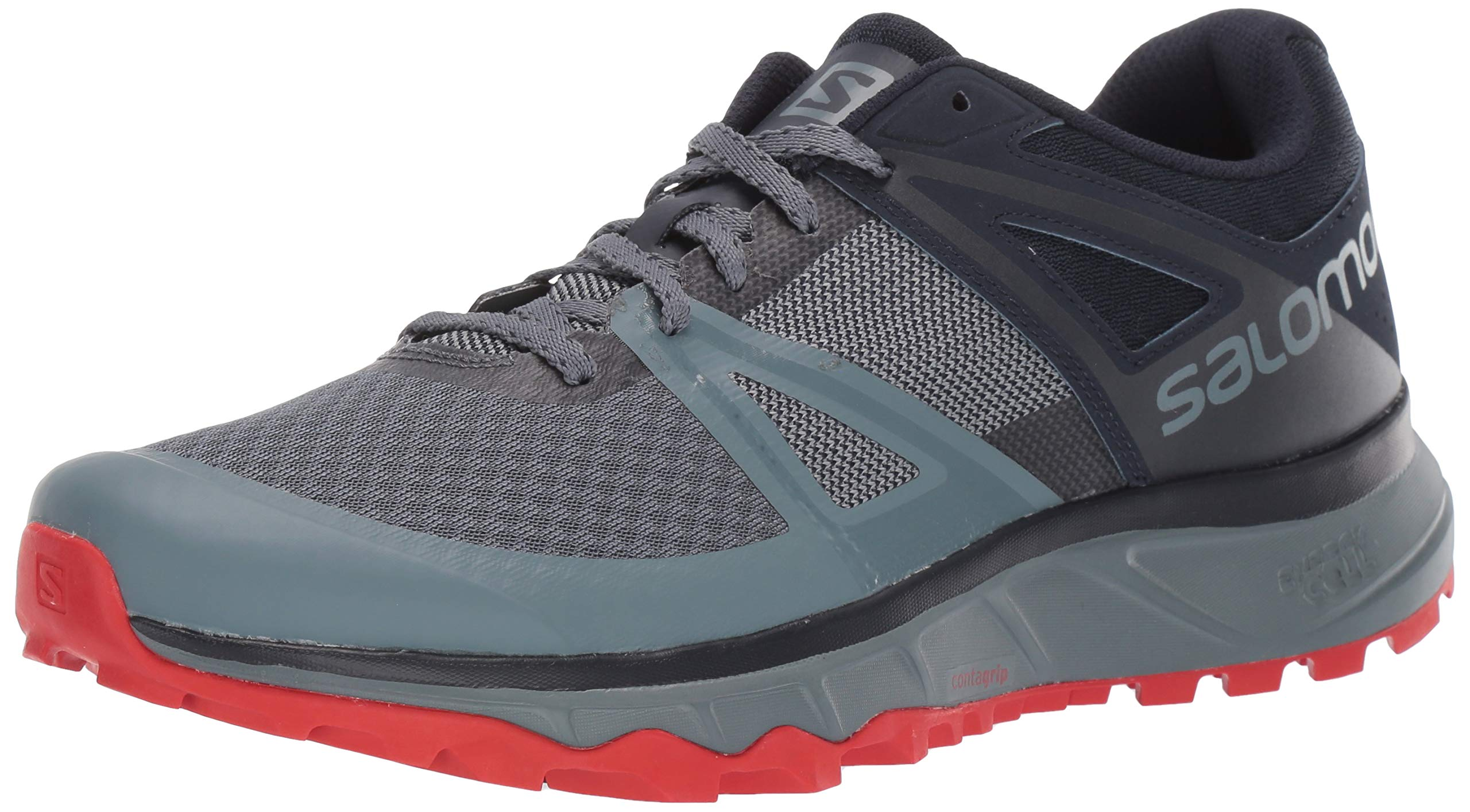 SALOMON Men's TRAILSTER Trail Running Shoe, Stormy Weather/Navy Blazer/Valiant Poppy, 7.5 by SALOMON