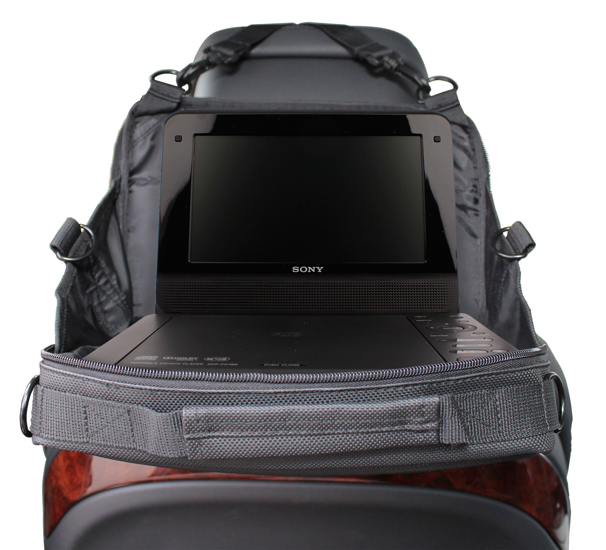 DURAGADGET 2 IN 1, 10 Inch Car Headrest Mount Holder and Storage Bag for Portable DVD Players - Compatible with Sony DVP-FX820, Philips PD9000/37 & V-Zon 7009D