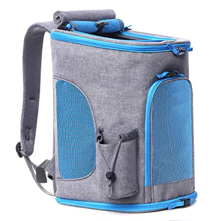Pet Carrier Backpack for Small Dogs and Cats up to 15LBs 2019 Upgrade Airline Approved Soft Sided Dog Carrier Backpack Ventilated,Cushion Back Support for Travel, Hiking, Walking