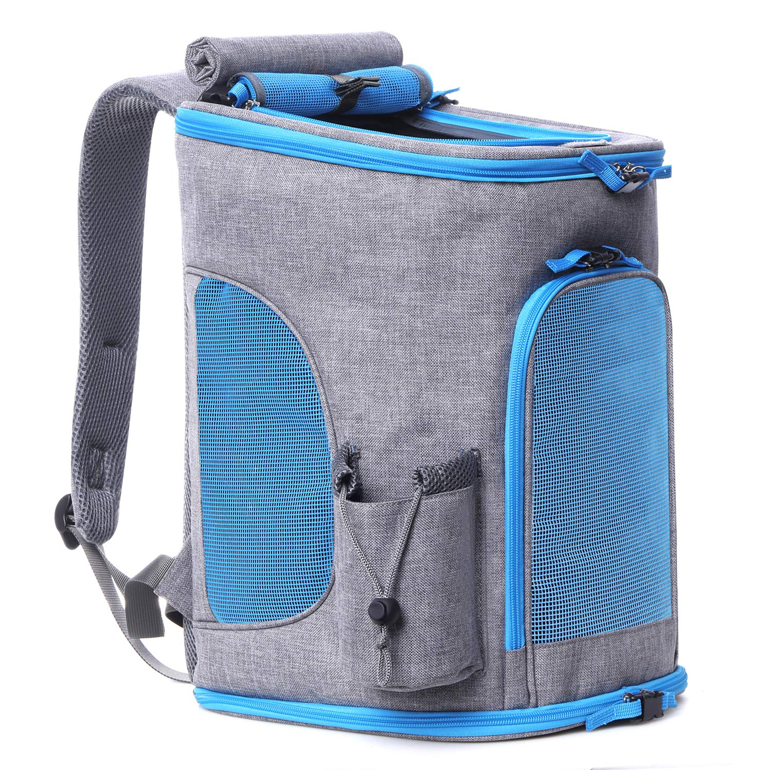Pet Carrier Backpack for Small Dogs and Cats up to 15LBs+[2019 Upgrade] Airline Approved Soft Sided Dog Carrier Backpack Ventilated,Cushion Back Support for Travel, Hiking, Walking