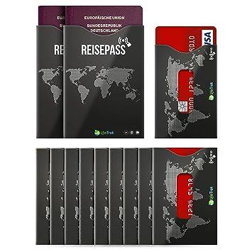 Bloqueador RFID Protector cubre certificado TÜV con ventana para tarjetas y pasaporte (10 + 2 juegos) la mejor seguridad para tarjetas de crédito, ...