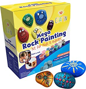 Mega Rock Painting Kits for Kids & Adults - DIY Art & Craft Sets - Outdoor Activity – Includes Rock/Stones, Paints & Markers – Home-schooling Activity for Kids - Over 200 Pieces - Gift Sets by CRAFTN