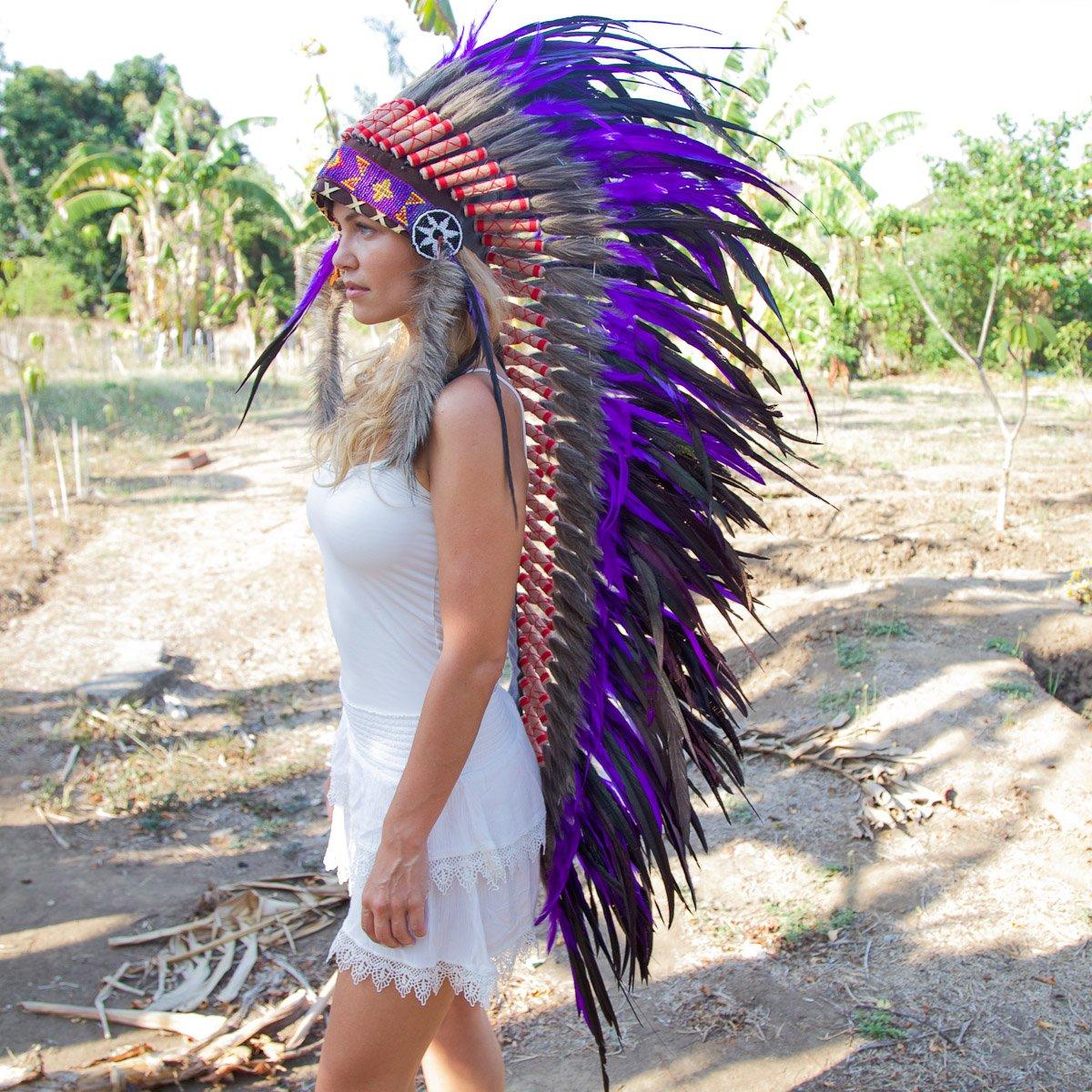 Novum Crafts Feather Headdress   Native American Indian Inspired   Purple