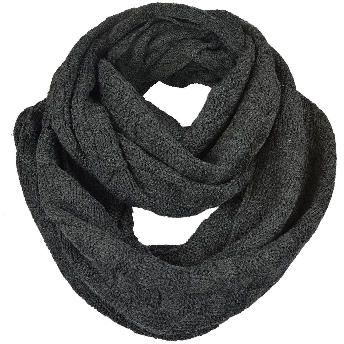 Unisex Soft Knit Winter Infinity Scarf (Multicolor Choose) (Check Style-Dark Grey)