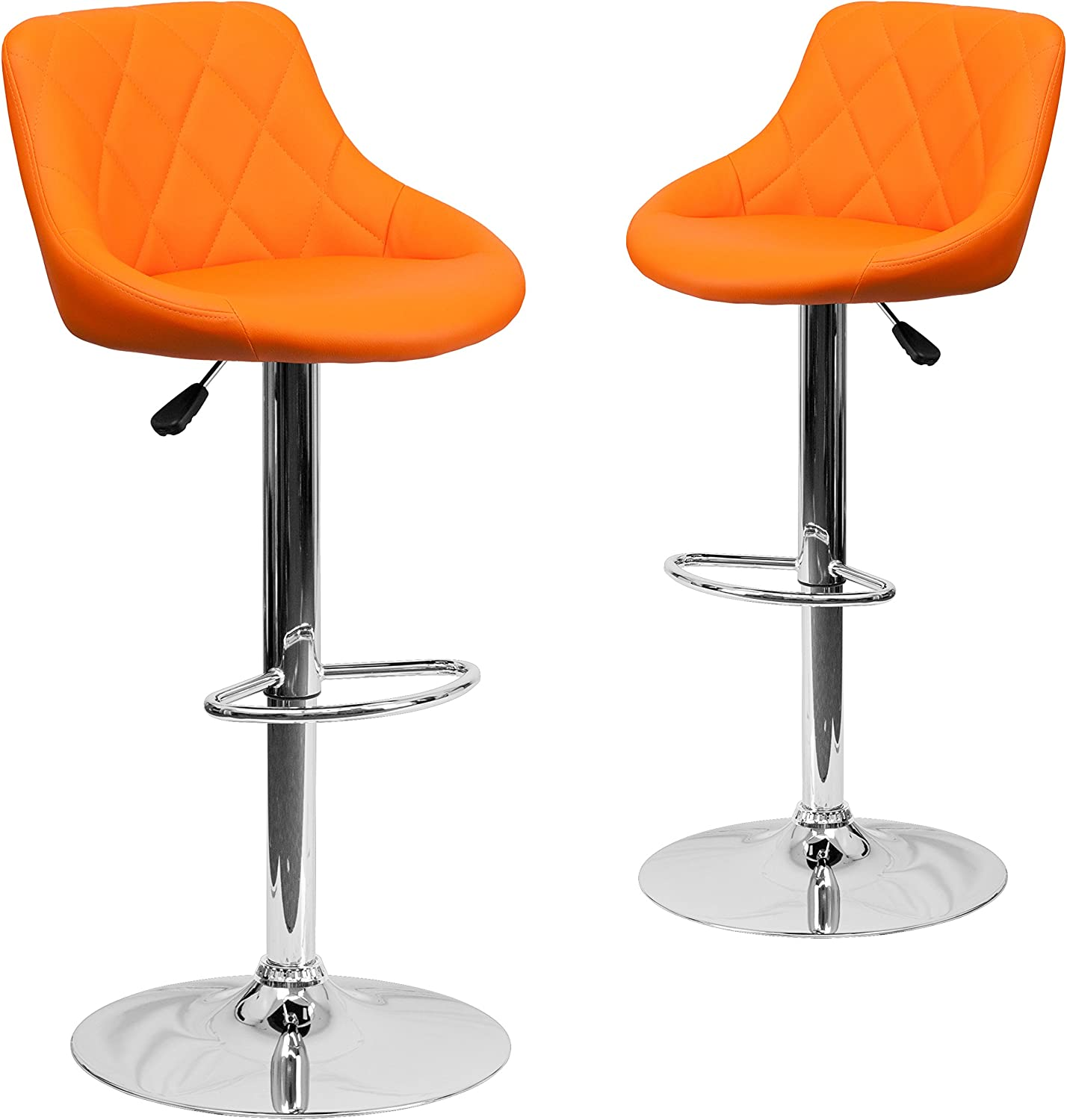 Flash Furniture 2 Pk. Contemporary Orange Vinyl Bucket Seat Adjustable Height Barstool with Diamond Pattern Back and Chrome Base