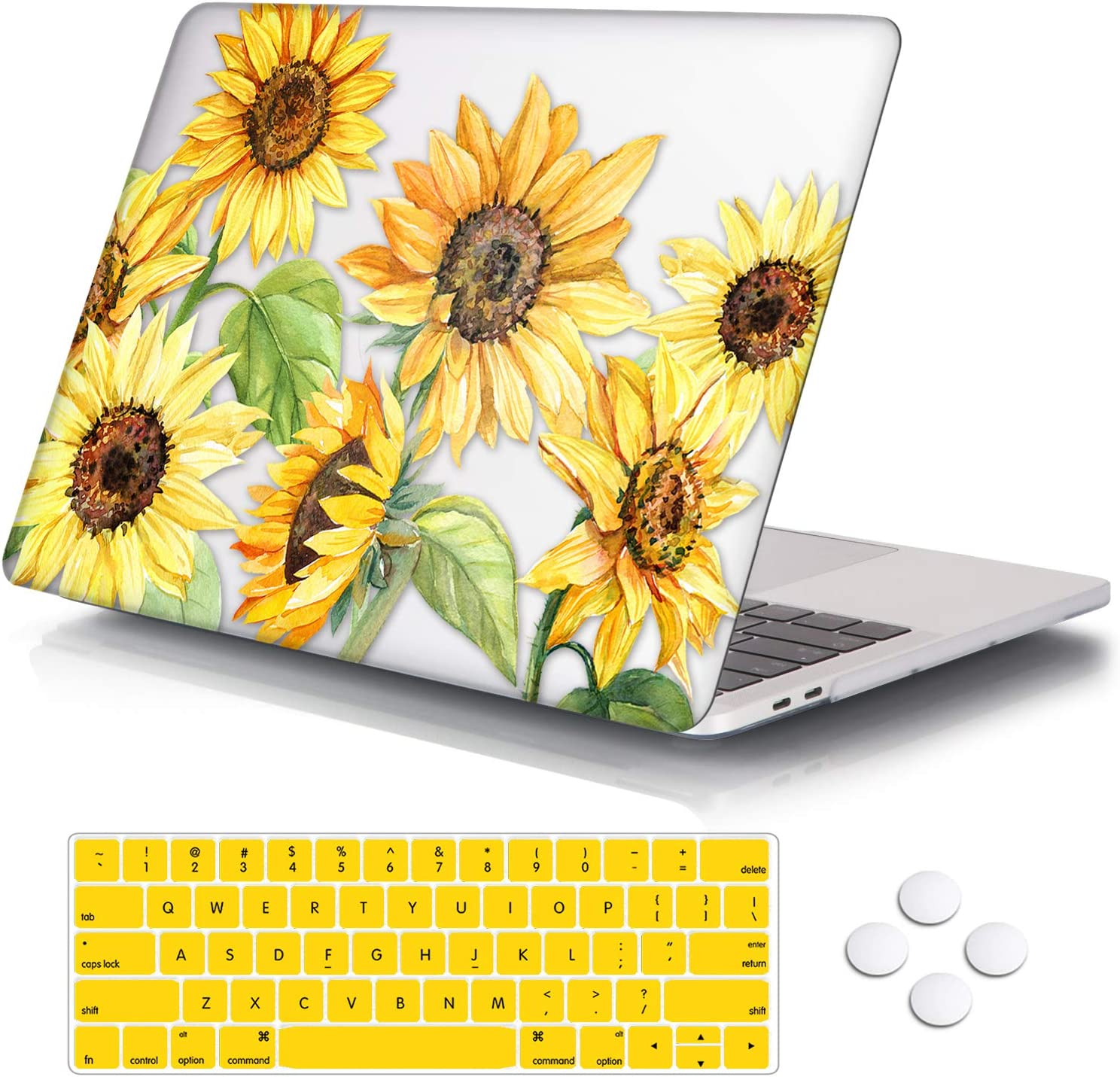 "DQQH MacBook Pro 13 inch case,Plastic case & Keyboard Cover,Only Compatible MacBook Newest Pro 13 inch case 2018 2017 2016 … (MacBook Newest Pro 13"" A1706/A1989/A1708/A2195, Sunflowers)"
