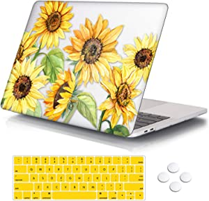 """DQQH MacBook Pro 13 inch case,Plastic case & Keyboard Cover,Only Compatible MacBook Newest Pro 13 inch case 2018 2017 2016 … (MacBook Newest Pro 13"""" A1706/A1989/A1708/A2195, Sunflowers)"""