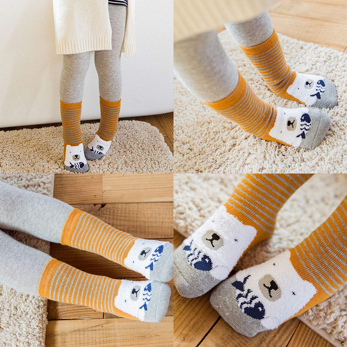 Rallytan Kids Winter Warm Ankle Socks Cute Print Cotton Thick Sock 3 Pair Pack