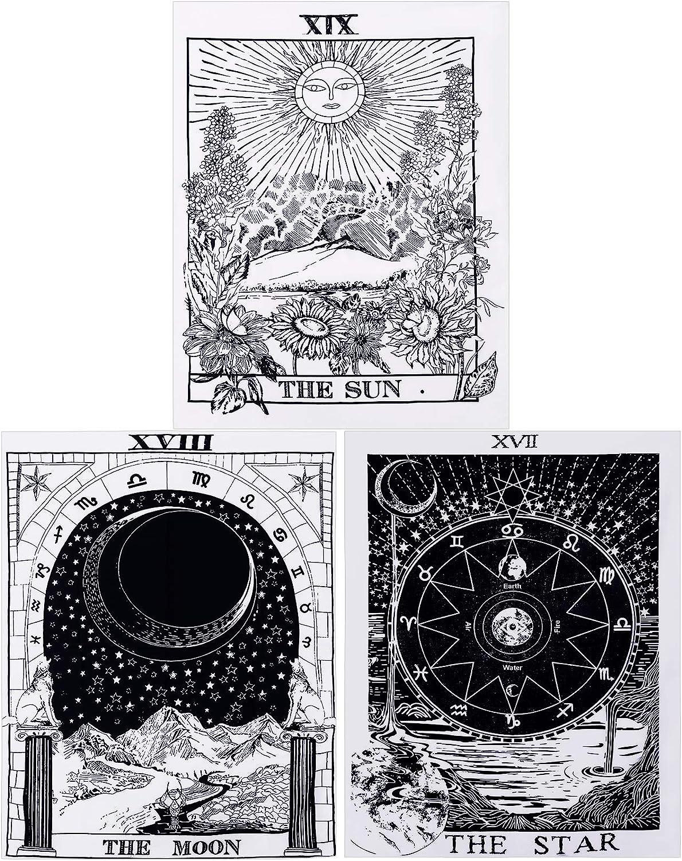 3 Piezas Tapices de Tarot Tapiz de Carta de Tarot de Sol Luna Estrella Tapiz de Adivinación de Europa Medieval Tapiz Misterioso Colgante de Pared para Decoración de Hogar (29,1 x 38,2 Pulgadas)