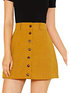 81a5ae345a9 SheIn Women's Basic Button Up Flared A-Line Skater Mini Skirt at ...