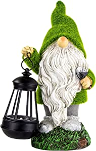 WhiteNight Garden Gnome Statues Garden Figurines with Solar Lights Flocked Gnome Figurine for Garden, Yard Art Decoration and Ornament Gift