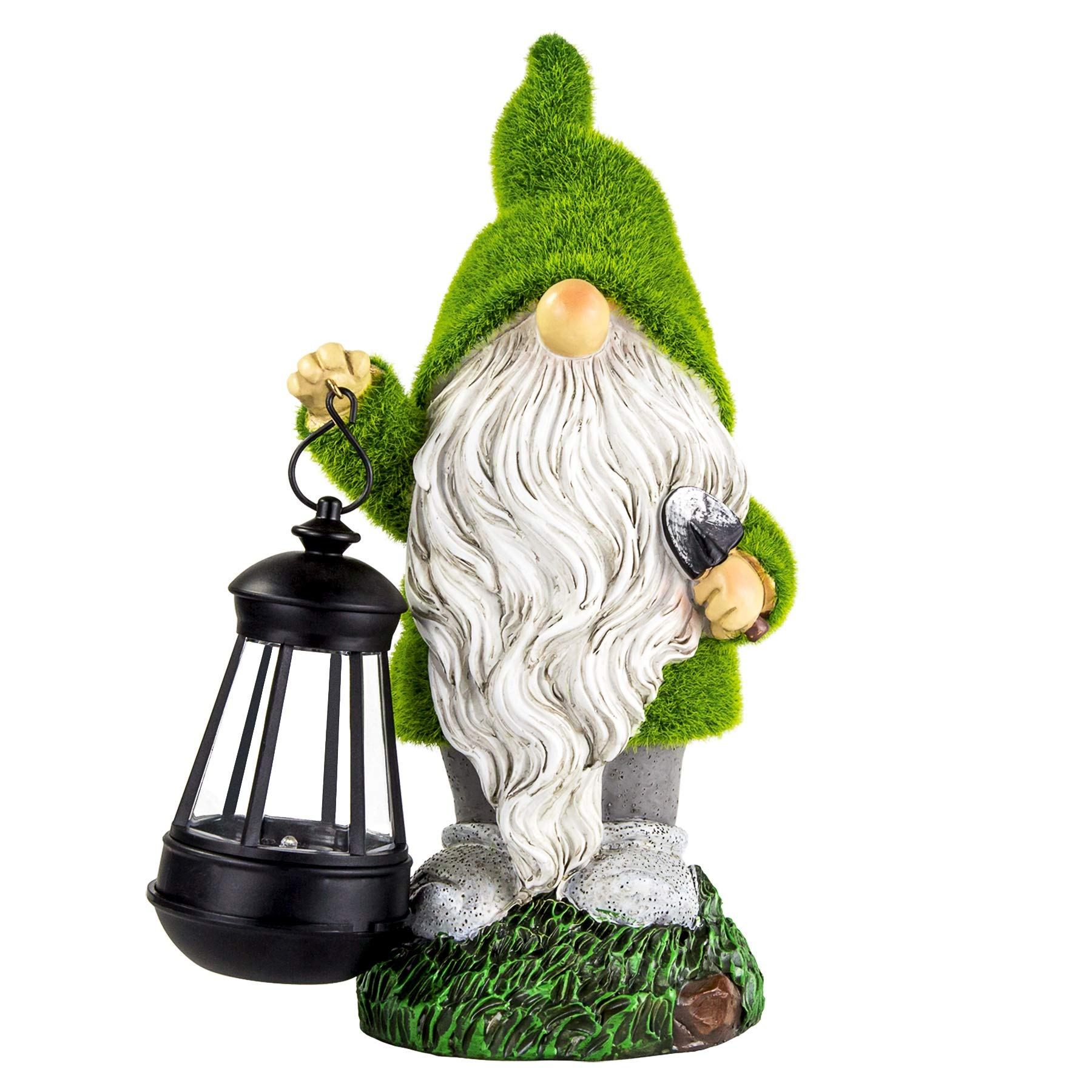 Garden Gnome Statues Garden Figurines with Solar Lights Flocked Gnome Figurine for