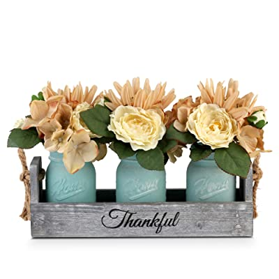 Buy Besuerte Rustic Table Centerpiece Decor Decorative Thankful Wood Tray With 3 Mason Jars Rose Bouquet Flower For Home Coffee Table Dining Room Kitchen New Home Housewarming Gift Blue Online In Netherlands B08dp59mdx