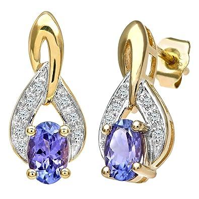 Naava Women's 9 ct Yellow Gold Diamond Drop Earrings mYzFCVBK29