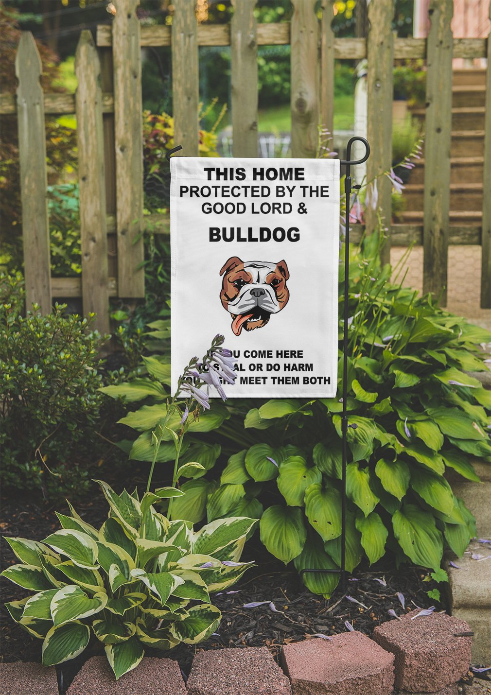 Home protected Good Lord BULLDOG DOG Meet Both Yard House Garden Flag Flag Only 8'' x 11 1/2''