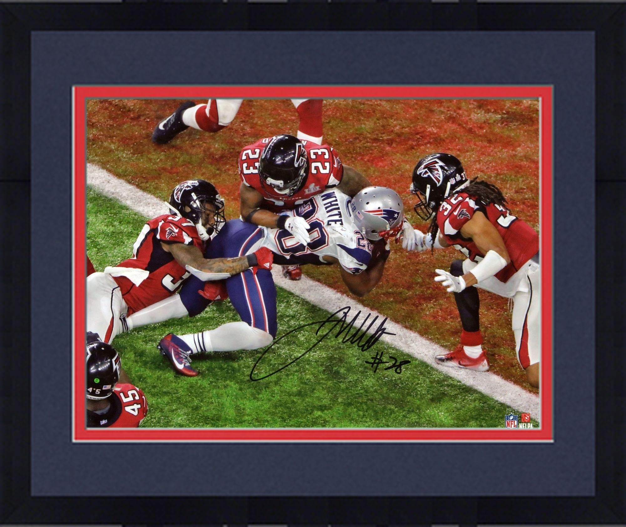 "Framed James White New England Patriots Autographed 8"" x 10"" Super Bowl LI Champions Game Winning Touchdown Photograph Fanatics Authentic Certified"