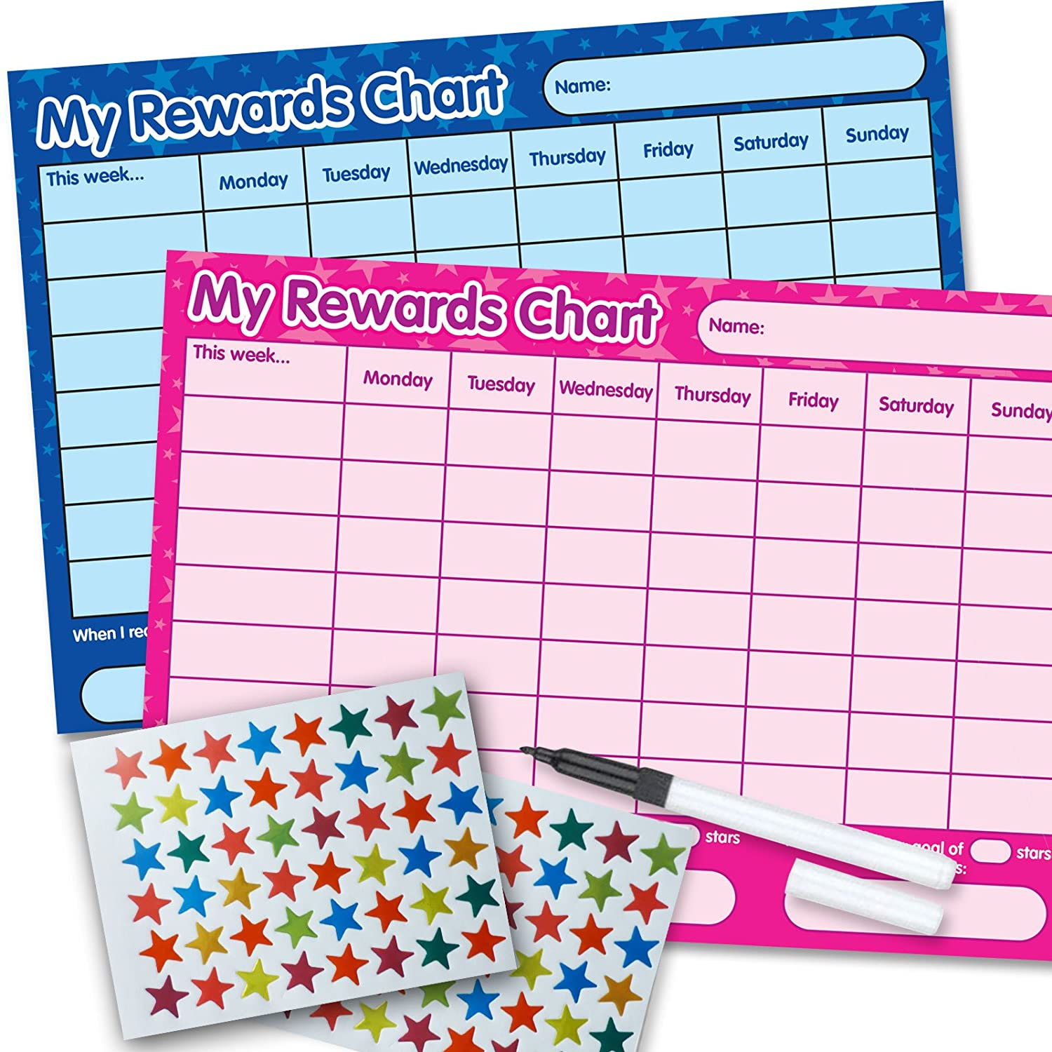 2 x Re-usable Reward Chart, (including FREE Star Stickers and Pen) - Blue & Pink Funky Monkey House