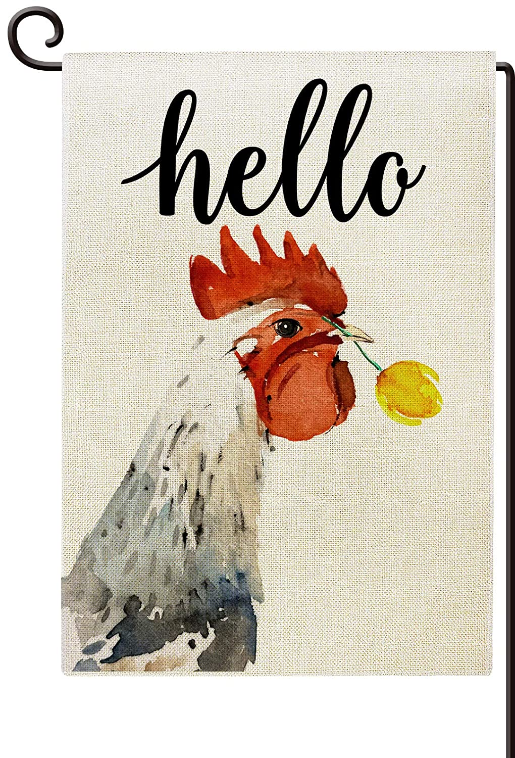 Agantree Art Chicken Hello Farmhouse Small Garden Flag Waterproof Double Sided Farmhouse Welcome Yard Decor 12 x 18 Inch