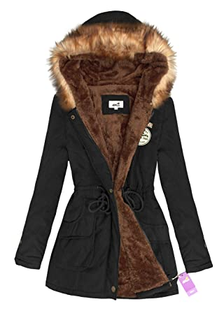 4How Womens Faux Fur Lined Parka Coats Outdoor Winter Hooded Long ...
