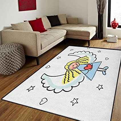 Xmas,Door Mat Small Rug,Cute Little Girl With Wings Red Heart Stars Angel