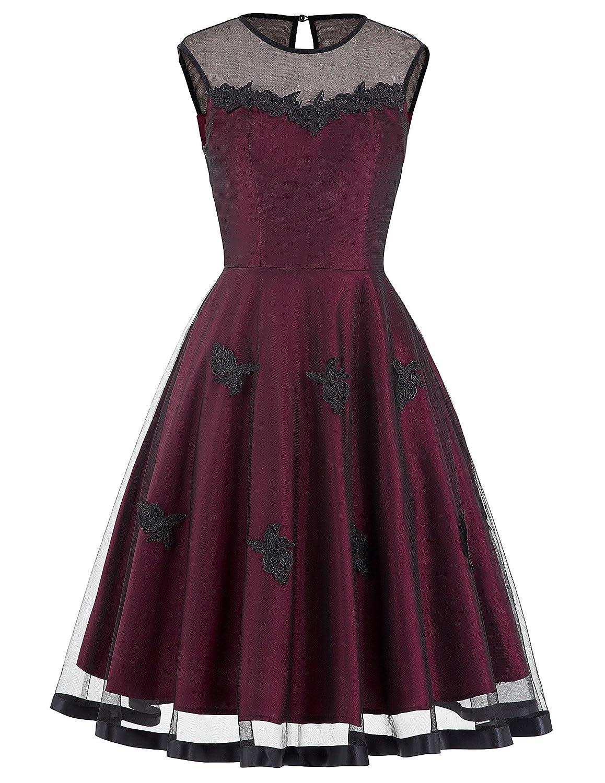 Yafex Damen Vintage Retro 1950er Kleid Festliche Kleid Hepburn Stil ZYB00112