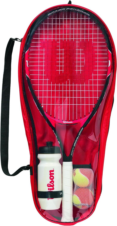 Wilson WRT214000 Roger Federer 25 - Kit de iniciación para niños (9-12 años), Color Rojo y Negro