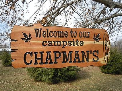 Amazoncom Camping Signs Camper Sign Live Edge Wood Look Custom