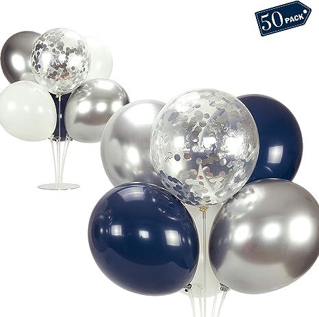 SHIMMER /& CONFETTI Premium 16ft Navy Blue Silver /& White Balloon Garland Kit