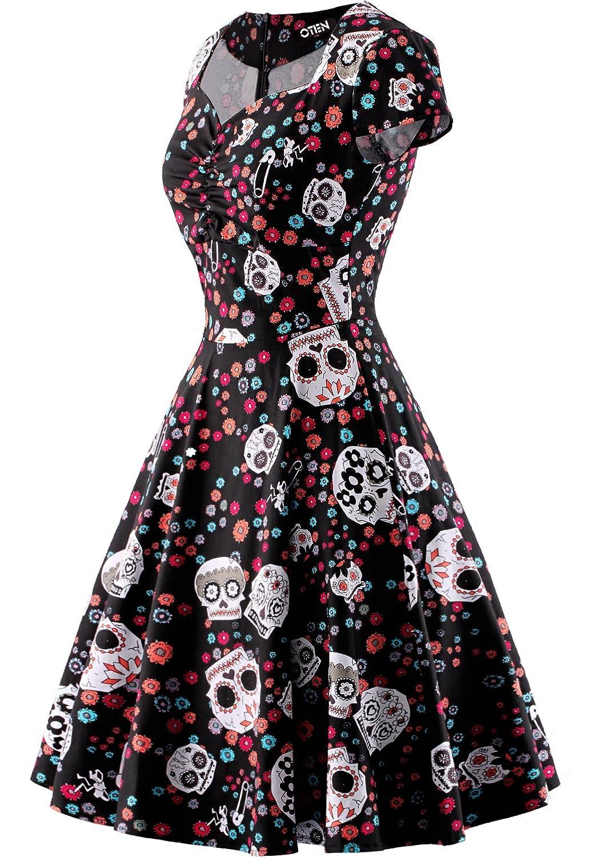 OTEN Women\'s Floral Sugar Skull Cap Sleeve Sewing Casual Retro Party ...